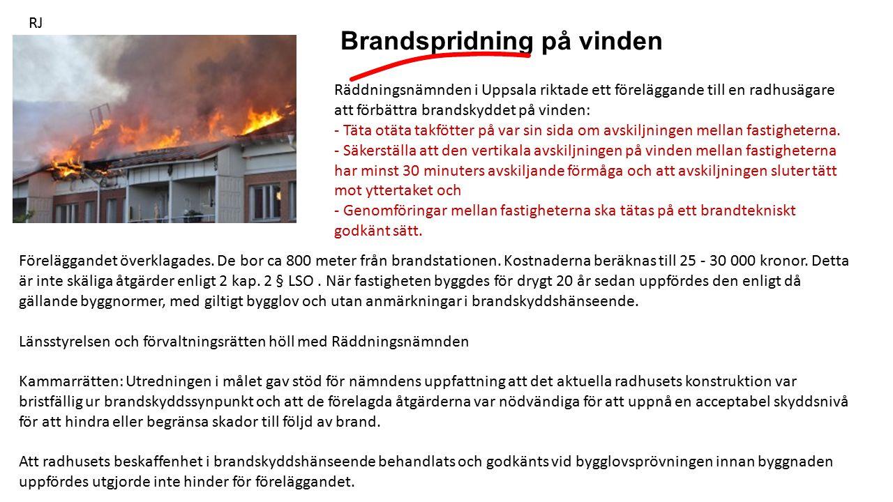 Brandspridning på vinden RJ Räddningsnämnden i Uppsala riktade ett föreläggande till en radhusägare att förbättra brandskyddet på vinden: - Täta otäta takfötter på var sin sida om avskiljningen mellan fastigheterna.