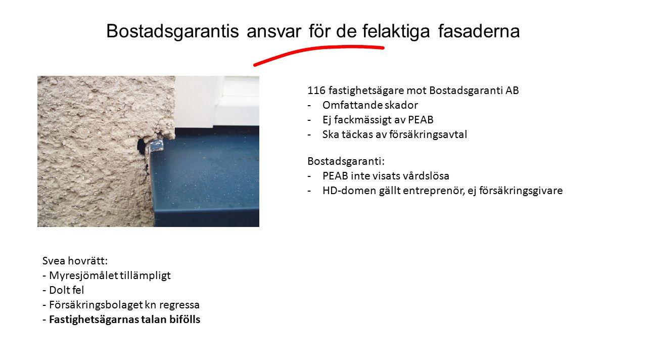 Bostadsgarantis ansvar för de felaktiga fasaderna 116 fastighetsägare mot Bostadsgaranti AB -Omfattande skador -Ej fackmässigt av PEAB -Ska täckas av försäkringsavtal Bostadsgaranti: -PEAB inte visats vårdslösa -HD-domen gällt entreprenör, ej försäkringsgivare Svea hovrätt: - Myresjömålet tillämpligt - Dolt fel - Försäkringsbolaget kn regressa - Fastighetsägarnas talan bifölls