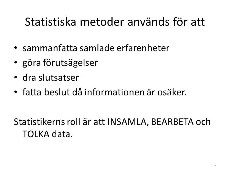 Statistiska metoder används för att sammanfatta samlade erfarenheter göra förutsägelser dra slutsatser fatta beslut då informationen är osäker. Statis