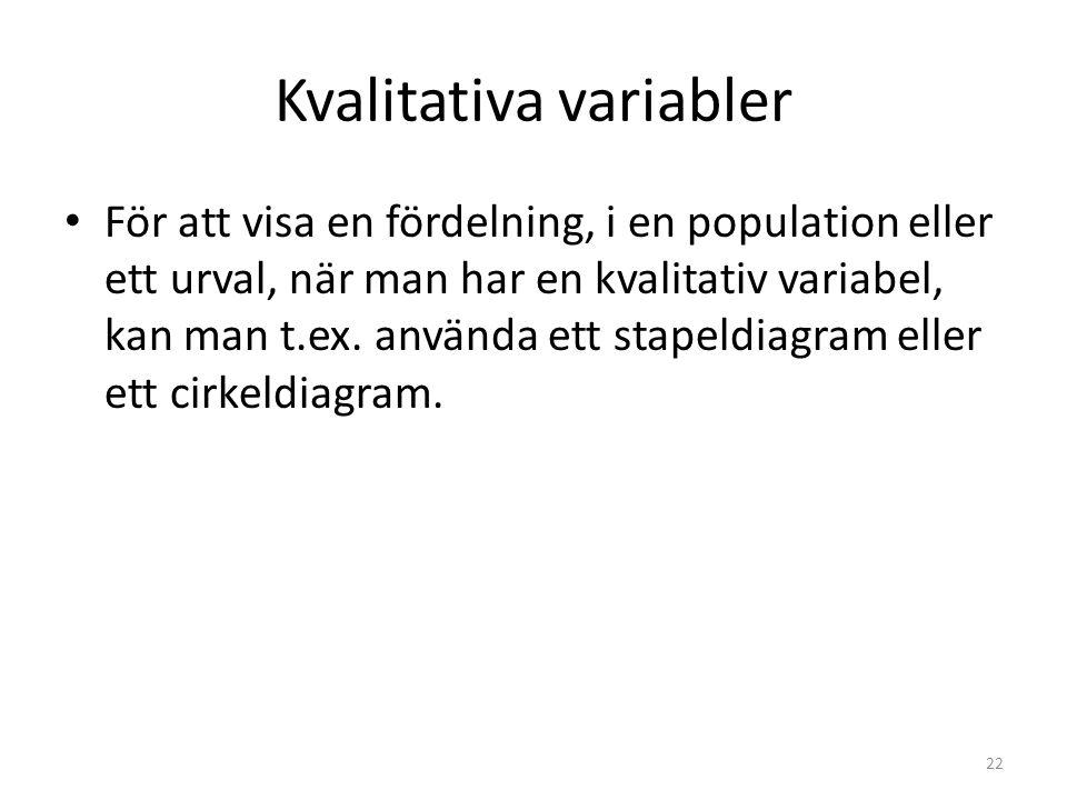 Kvalitativa variabler För att visa en fördelning, i en population eller ett urval, när man har en kvalitativ variabel, kan man t.ex.