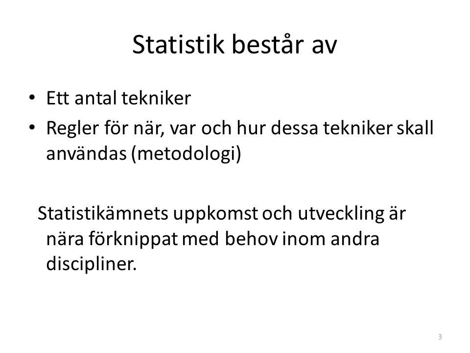 Statistik består av Ett antal tekniker Regler för när, var och hur dessa tekniker skall användas (metodologi) Statistikämnets uppkomst och utveckling är nära förknippat med behov inom andra discipliner.