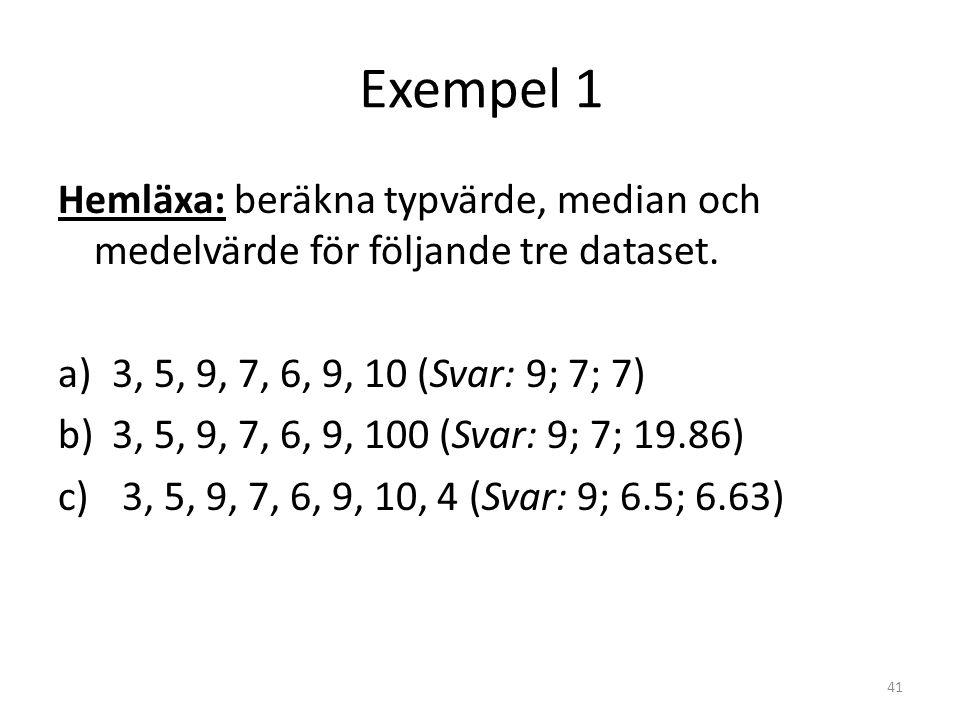 Exempel 1 Hemläxa: beräkna typvärde, median och medelvärde för följande tre dataset. a)3, 5, 9, 7, 6, 9, 10 (Svar: 9; 7; 7) b)3, 5, 9, 7, 6, 9, 100 (S