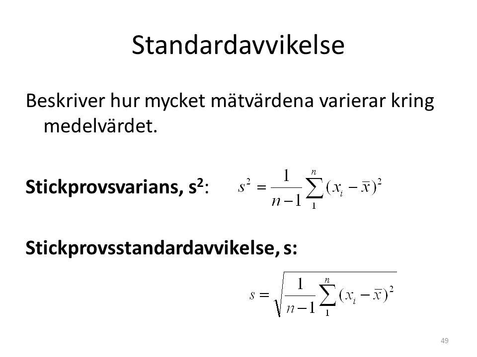 Standardavvikelse Beskriver hur mycket mätvärdena varierar kring medelvärdet. Stickprovsvarians, s 2 : Stickprovsstandardavvikelse, s: 49