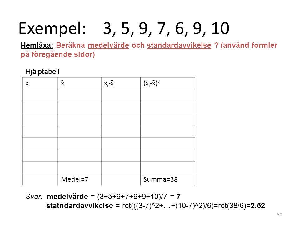 Exempel: 3, 5, 9, 7, 6, 9, 10 xixi x̄x i -x̄(x i -x̄) 2 Medel=7Summa=38 50 Svar: medelvärde = (3+5+9+7+6+9+10)/7 = 7 statndardavvikelse = rot(((3-7)^2+…+(10-7)^2)/6)=rot(38/6)=2.52 Hemläxa: Beräkna medelvärde och standardavvikelse .
