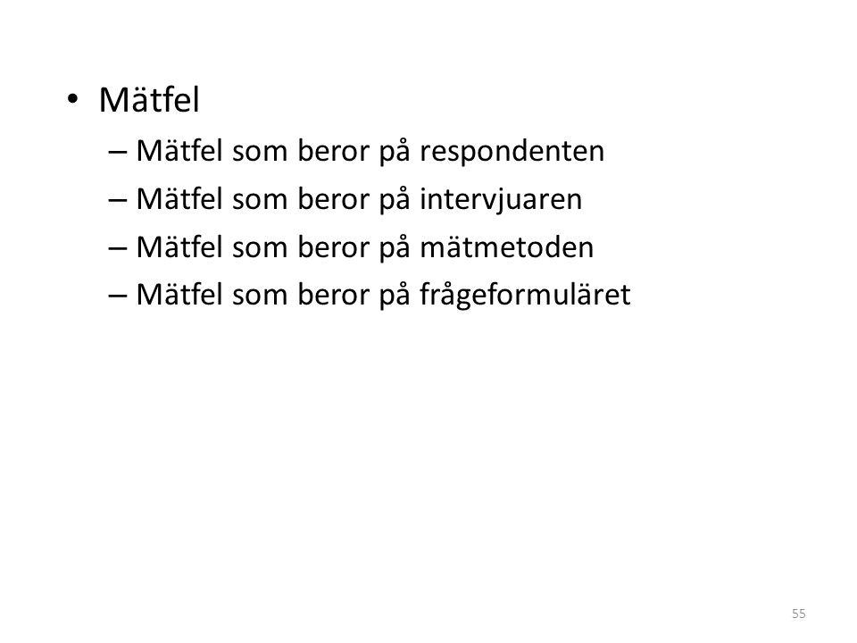 55 Mätfel – Mätfel som beror på respondenten – Mätfel som beror på intervjuaren – Mätfel som beror på mätmetoden – Mätfel som beror på frågeformuläret
