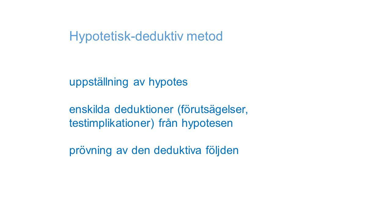 Hypotetisk-deduktiv metod uppställning av hypotes enskilda deduktioner (förutsägelser, testimplikationer) från hypotesen prövning av den deduktiva följden