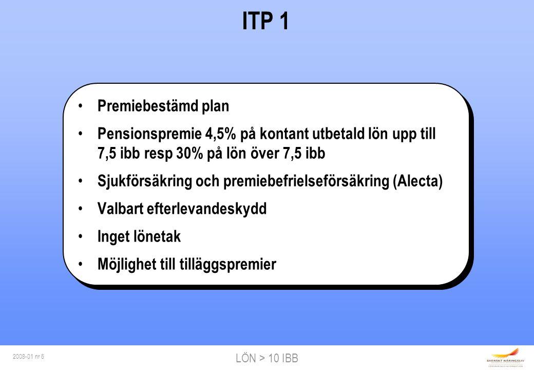 LÖN > 10 IBB 2008-01 nr 6 ITP 1 Premiebestämd plan Pensionspremie 4,5% på kontant utbetald lön upp till 7,5 ibb resp 30% på lön över 7,5 ibb Sjukförsäkring och premiebefrielseförsäkring (Alecta) Valbart efterlevandeskydd Inget lönetak Möjlighet till tilläggspremier Premiebestämd plan Pensionspremie 4,5% på kontant utbetald lön upp till 7,5 ibb resp 30% på lön över 7,5 ibb Sjukförsäkring och premiebefrielseförsäkring (Alecta) Valbart efterlevandeskydd Inget lönetak Möjlighet till tilläggspremier