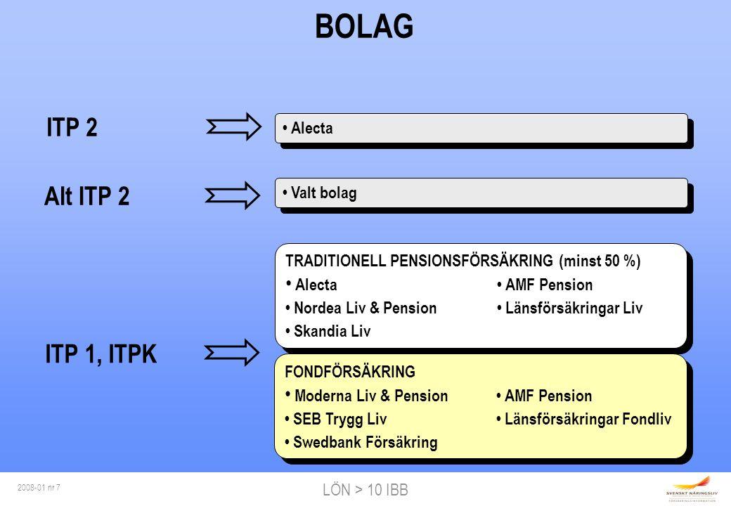 LÖN > 10 IBB 2008-01 nr 8 VARFÖR ALTERNATIV ITP.