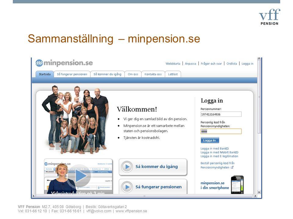 Sammanställning – minpension.se VFF Pension M2.7, 405 08 Göteborg | Besök: Götaverksgatan 2 Vxl: 031-66 12 10 | Fax: 031-66 16 61 | vff@volvo.com | ww
