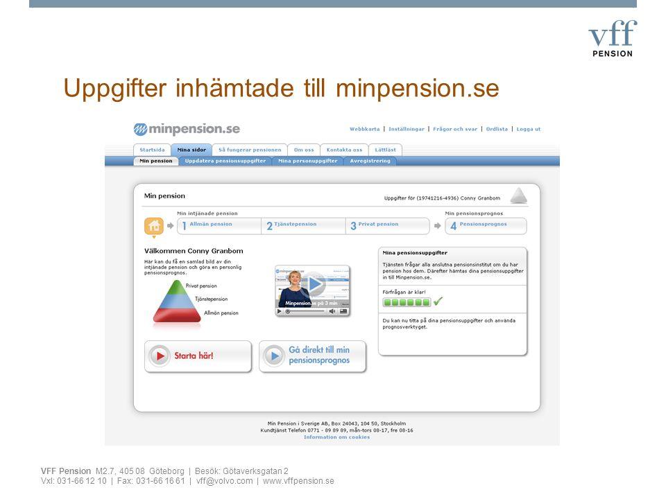 Uppgifter inhämtade till minpension.se VFF Pension M2.7, 405 08 Göteborg | Besök: Götaverksgatan 2 Vxl: 031-66 12 10 | Fax: 031-66 16 61 | vff@volvo.c