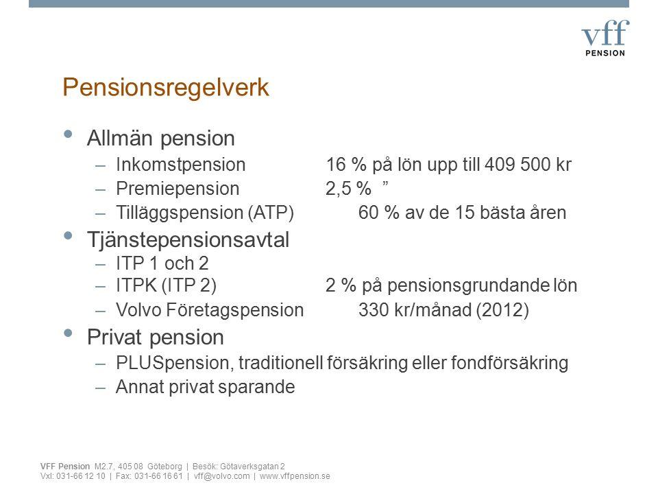 """Pensionsregelverk Allmän pension –Inkomstpension16 % på lön upp till 409 500 kr –Premiepension2,5 % """" –Tilläggspension (ATP)60 % av de 15 bästa åren T"""
