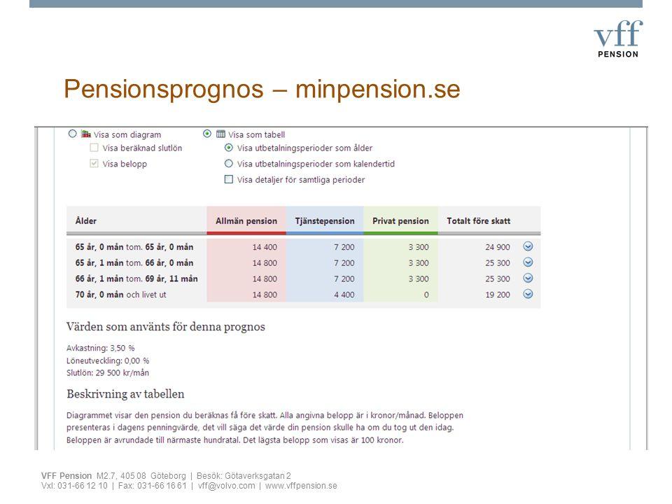 Pensionsprognos – minpension.se VFF Pension M2.7, 405 08 Göteborg | Besök: Götaverksgatan 2 Vxl: 031-66 12 10 | Fax: 031-66 16 61 | vff@volvo.com | www.vffpension.se