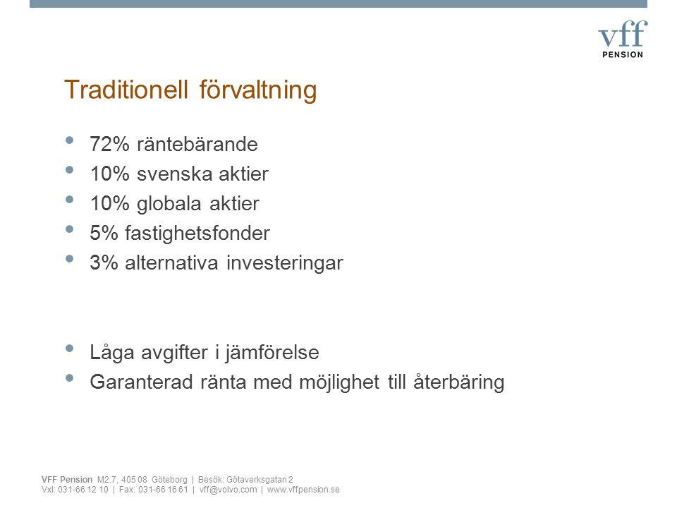 Traditionell förvaltning VFF Pension M2.7, 405 08 Göteborg | Besök: Götaverksgatan 2 Vxl: 031-66 12 10 | Fax: 031-66 16 61 | vff@volvo.com | www.vffpe