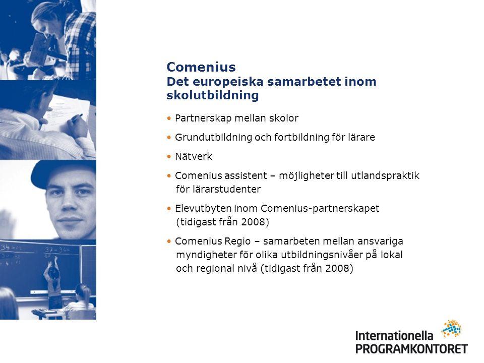 Comenius Det europeiska samarbetet inom skolutbildning Partnerskap mellan skolor Grundutbildning och fortbildning för lärare Nätverk Comenius assistent – möjligheter till utlandspraktik för lärarstudenter Elevutbyten inom Comenius-partnerskapet (tidigast från 2008) Comenius Regio – samarbeten mellan ansvariga myndigheter för olika utbildningsnivåer på lokal och regional nivå (tidigast från 2008)