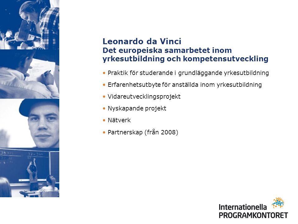Leonardo da Vinci Det europeiska samarbetet inom yrkesutbildning och kompetensutveckling Praktik för studerande i grundläggande yrkesutbildning Erfarenhetsutbyte för anställda inom yrkesutbildning Vidareutvecklingsprojekt Nyskapande projekt Nätverk Partnerskap (från 2008)