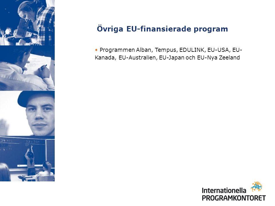 Övriga EU-finansierade program Programmen Alban, Tempus, EDULINK, EU-USA, EU- Kanada, EU-Australien, EU-Japan och EU-Nya Zeeland