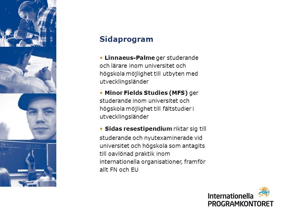 Sidaprogram Linnaeus-Palme ger studerande och lärare inom universitet och högskola möjlighet till utbyten med utvecklingsländer Minor Fields Studies (MFS) ger studerande inom universitet och högskola möjlighet till fältstudier i utvecklingsländer Sidas resestipendium riktar sig till studerande och nyutexaminerade vid universitet och högskola som antagits till oavlönad praktik inom internationella organisationer, framför allt FN och EU