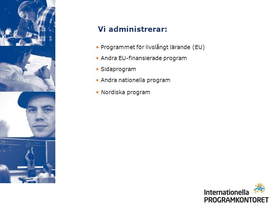 Vi administrerar: Programmet för livslångt lärande (EU) Andra EU-finansierade program Sidaprogram Andra nationella program Nordiska program