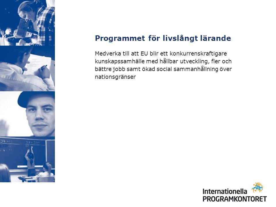 Programmet för livslångt lärande Medverka till att EU blir ett konkurrenskraftigare kunskapssamhälle med hållbar utveckling, fler och bättre jobb samt ökad social sammanhållning över nationsgränser