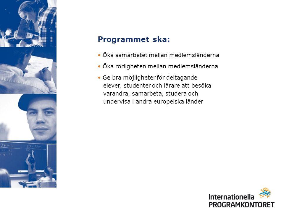 Programmet ska: Öka samarbetet mellan medlemsländerna Öka rörligheten mellan medlemsländerna Ge bra möjligheter för deltagande elever, studenter och lärare att besöka varandra, samarbeta, studera och undervisa i andra europeiska länder