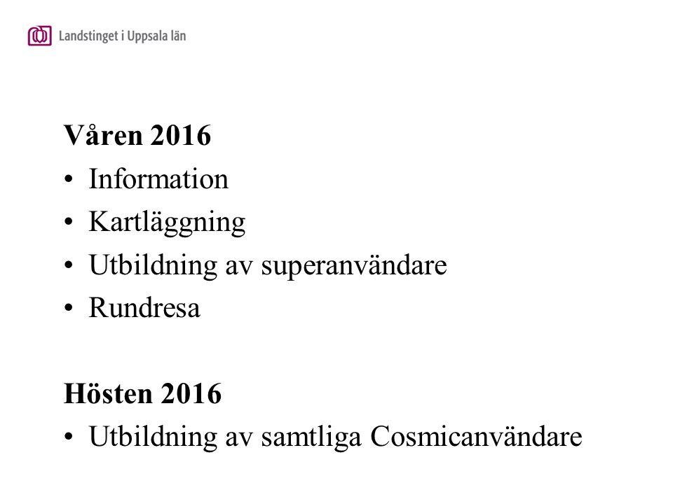 Våren 2016 Information Kartläggning Utbildning av superanvändare Rundresa Hösten 2016 Utbildning av samtliga Cosmicanvändare