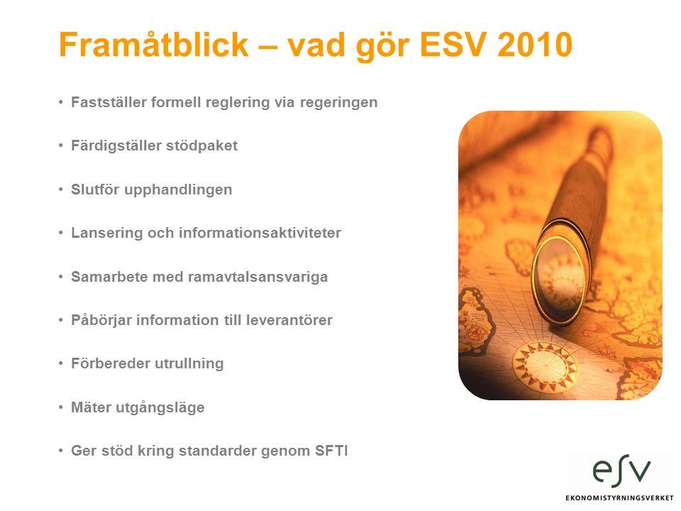 Framåtblick – vad gör ESV 2010 Fastställer formell reglering via regeringen Färdigställer stödpaket Slutför upphandlingen Lansering och informationsaktiviteter Samarbete med ramavtalsansvariga Påbörjar information till leverantörer Förbereder utrullning Mäter utgångsläge Ger stöd kring standarder genom SFTI