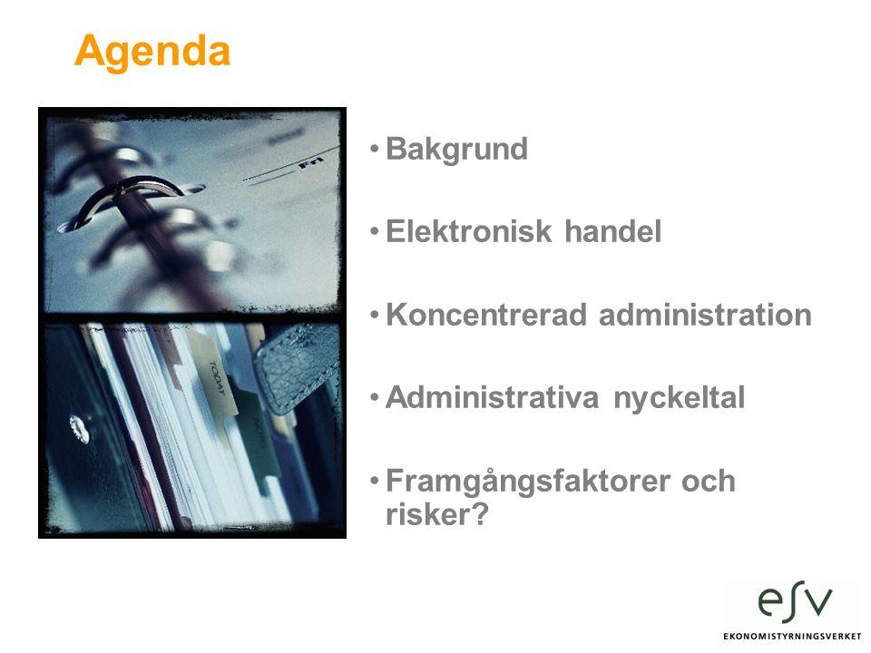 Agenda Bakgrund Elektronisk handel Koncentrerad administration Administrativa nyckeltal Framgångsfaktorer och risker