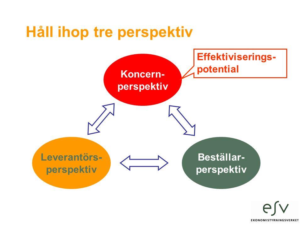 Håll ihop tre perspektiv Leverantörs- perspektiv Koncern- perspektiv Beställar- perspektiv Effektiviserings- potential