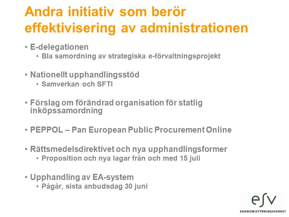 Andra initiativ som berör effektivisering av administrationen E-delegationen Bla samordning av strategiska e-förvaltningsprojekt Nationellt upphandlingsstöd Samverkan och SFTI Förslag om förändrad organisation för statlig inköpssamordning PEPPOL – Pan European Public Procurement Online Rättsmedelsdirektivet och nya upphandlingsformer Proposition och nya lagar från och med 15 juli Upphandling av EA-system Pågår, sista anbudsdag 30 juni