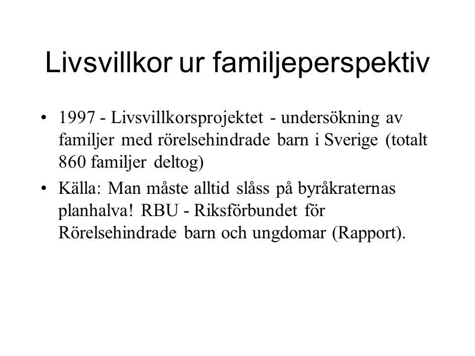 Livsvillkor ur familjeperspektiv 1997 - Livsvillkorsprojektet - undersökning av familjer med rörelsehindrade barn i Sverige (totalt 860 familjer deltog) Källa: Man måste alltid slåss på byråkraternas planhalva.