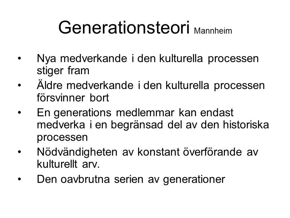 Generationsteori Mannheim Nya medverkande i den kulturella processen stiger fram Äldre medverkande i den kulturella processen försvinner bort En gener