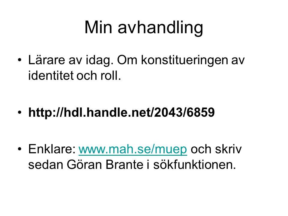 Min avhandling Lärare av idag. Om konstitueringen av identitet och roll. http://hdl.handle.net/2043/6859 Enklare: www.mah.se/muep och skriv sedan Göra
