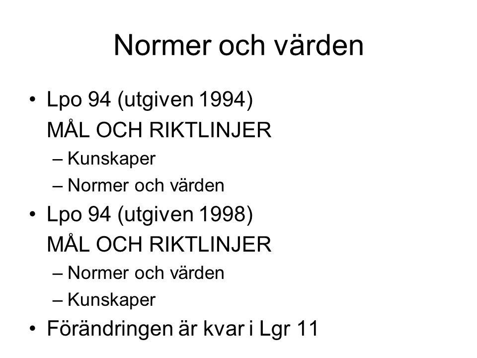 Normer och värden Lpo 94 (utgiven 1994) MÅL OCH RIKTLINJER –Kunskaper –Normer och värden Lpo 94 (utgiven 1998) MÅL OCH RIKTLINJER –Normer och värden –