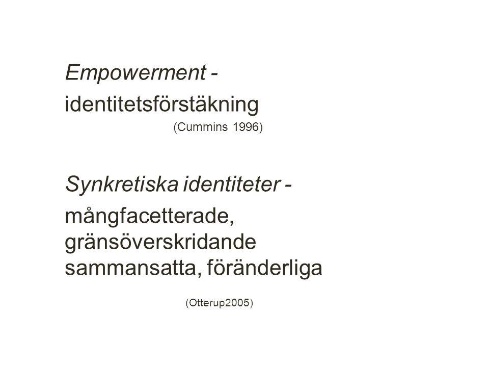 Empowerment - identitetsförstäkning (Cummins 1996) Synkretiska identiteter - mångfacetterade, gränsöverskridande sammansatta, föränderliga (Otterup2005) 12