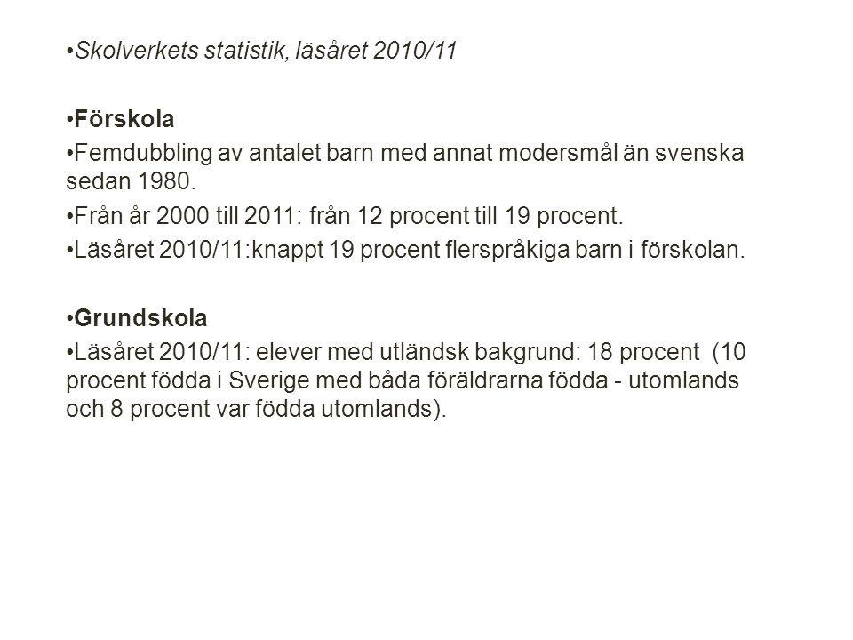 Skolverkets statistik, läsåret 2010/11 Förskola Femdubbling av antalet barn med annat modersmål än svenska sedan 1980.