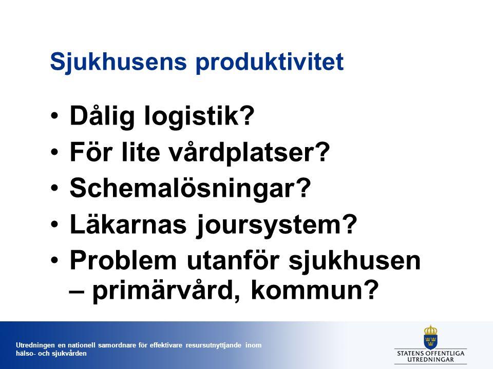 Utredningen en nationell samordnare för effektivare resursutnyttjande inom hälso- och sjukvården Sjukhusens produktivitet Dålig logistik? För lite vår
