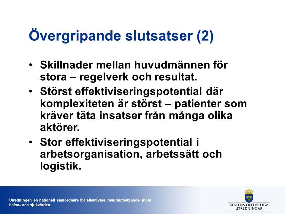 Utredningen en nationell samordnare för effektivare resursutnyttjande inom hälso- och sjukvården Övergripande slutsatser (2) Skillnader mellan huvudmä