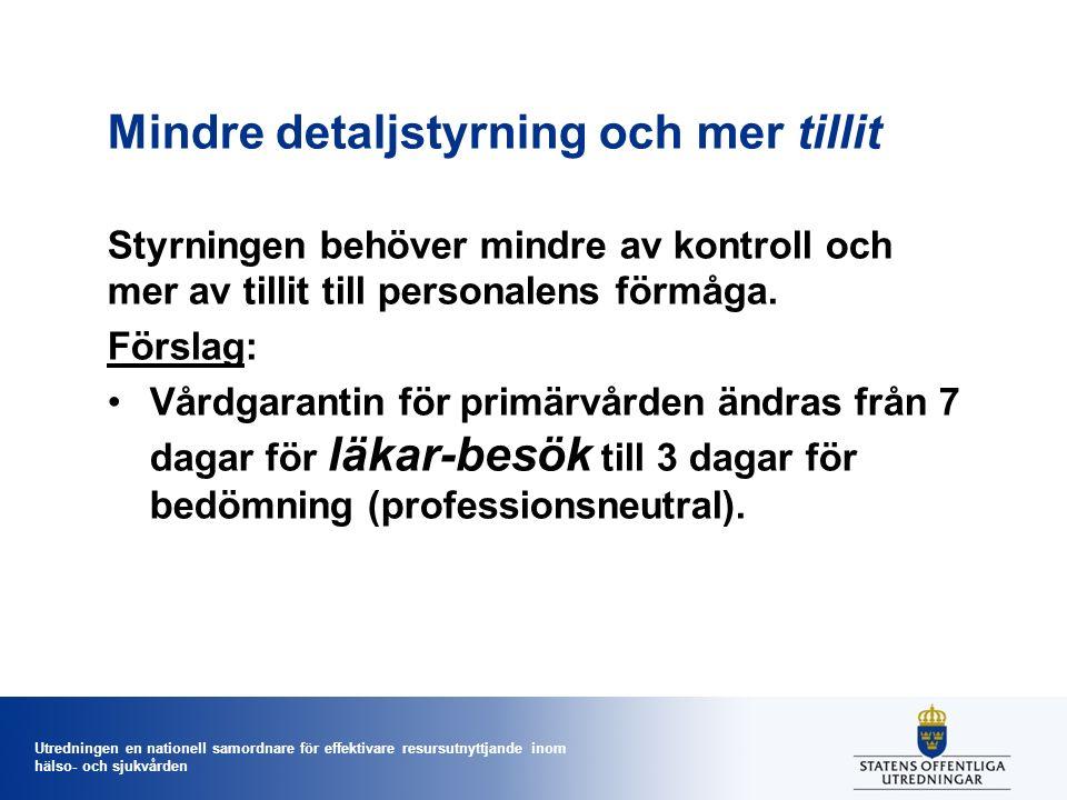 Utredningen en nationell samordnare för effektivare resursutnyttjande inom hälso- och sjukvården Mindre detaljstyrning och mer tillit Styrningen behöv
