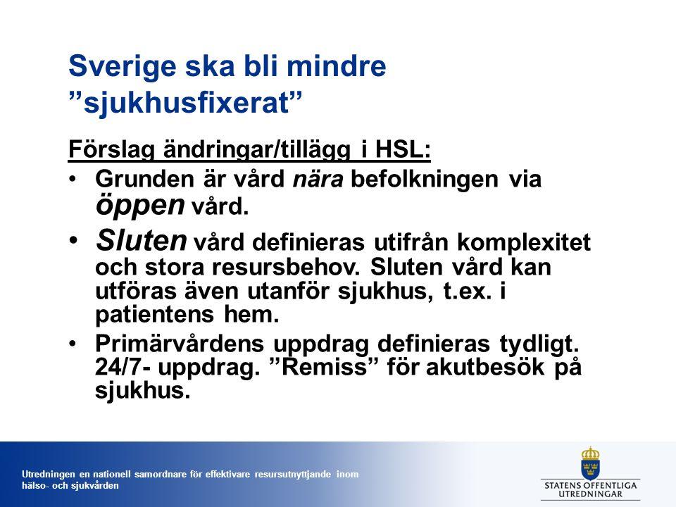 Utredningen en nationell samordnare för effektivare resursutnyttjande inom hälso- och sjukvården Sverige ska bli mindre sjukhusfixerat Förslag ändringar/tillägg i HSL: Grunden är vård nära befolkningen via öppen vård.