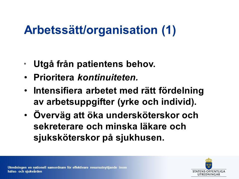 Utredningen en nationell samordnare för effektivare resursutnyttjande inom hälso- och sjukvården Arbetssätt/organisation (1) * Utgå från patientens be