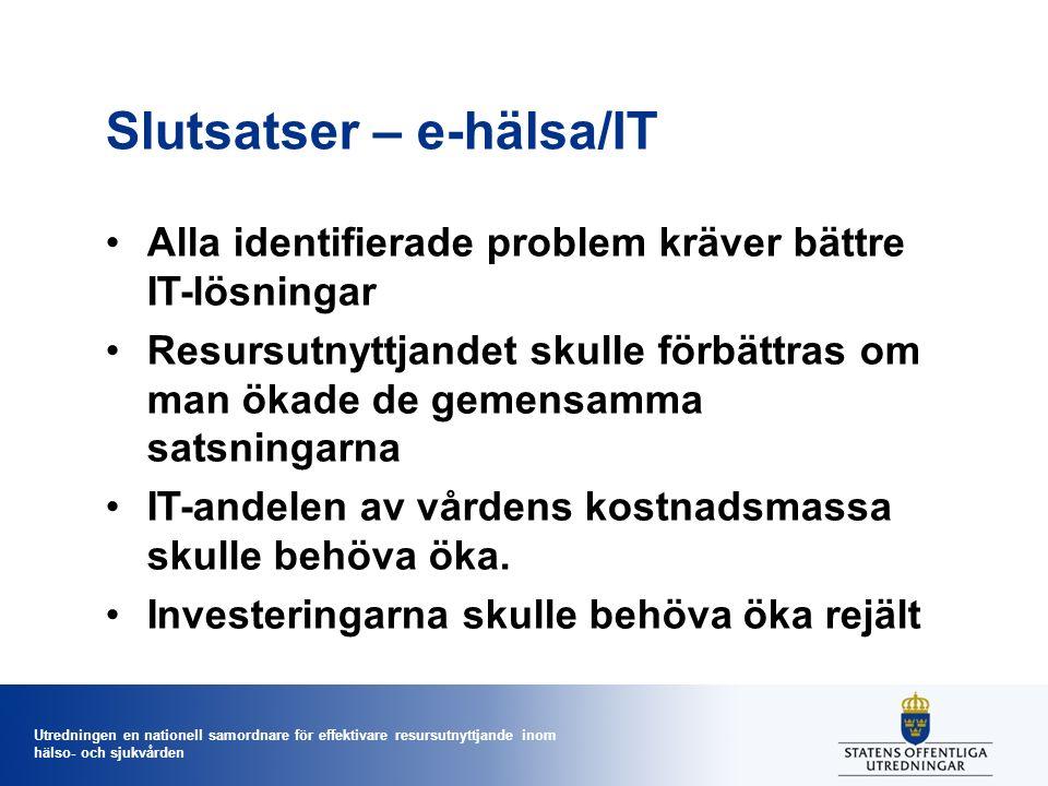 Utredningen en nationell samordnare för effektivare resursutnyttjande inom hälso- och sjukvården Slutsatser – e-hälsa/IT Alla identifierade problem kr