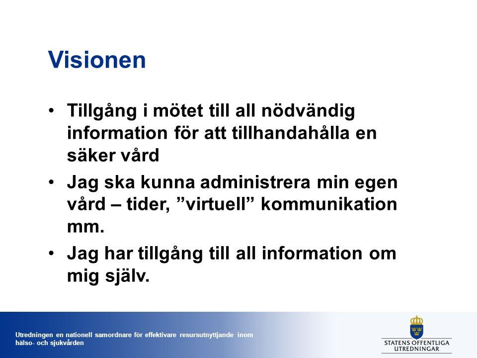 Utredningen en nationell samordnare för effektivare resursutnyttjande inom hälso- och sjukvården Visionen Tillgång i mötet till all nödvändig informat