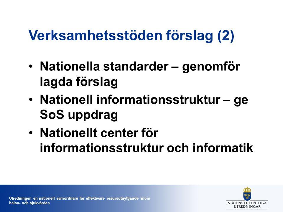 Utredningen en nationell samordnare för effektivare resursutnyttjande inom hälso- och sjukvården Verksamhetsstöden förslag (2) Nationella standarder –