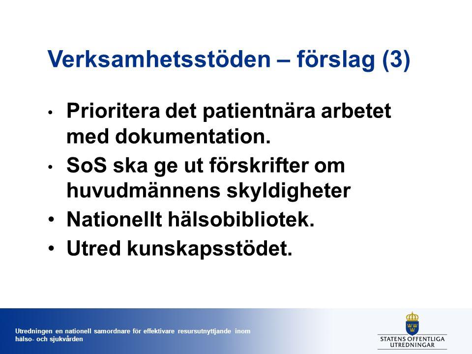 Utredningen en nationell samordnare för effektivare resursutnyttjande inom hälso- och sjukvården Verksamhetsstöden – förslag (3) Prioritera det patien