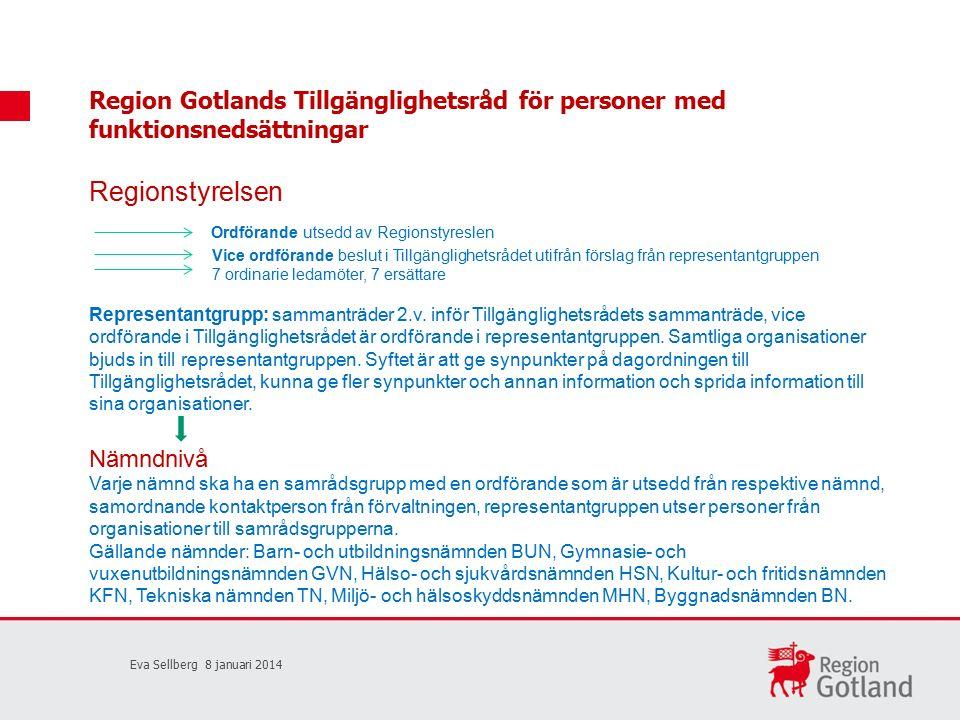 Region Gotlands Tillgänglighetsråd för personer med funktionsnedsättningar Regionstyrelsen Ordförande utsedd av Regionstyreslen Vice ordförande beslut i Tillgänglighetsrådet utifrån förslag från representantgruppen 7 ordinarie ledamöter, 7 ersättare Representantgrupp: sammanträder 2.v.
