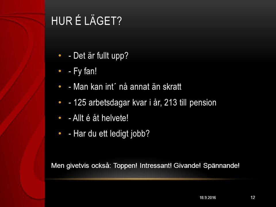 HUR É LÄGET. 18.9.2016 12 - Det är fullt upp. - Fy fan.