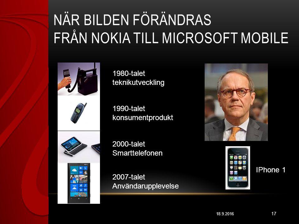 NÄR BILDEN FÖRÄNDRAS FRÅN NOKIA TILL MICROSOFT MOBILE 18.9.2016 17 1980-talet teknikutveckling 1990-talet konsumentprodukt 2000-talet Smarttelefonen 2007-talet Användarupplevelse IPhone 1