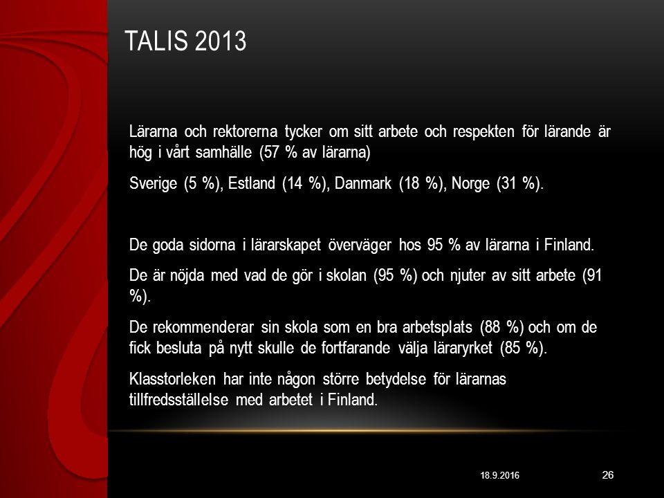 TALIS 2013 18.9.2016 26 Lärarna och rektorerna tycker om sitt arbete och respekten för lärande är hög i vårt samhälle (57 % av lärarna) Sverige (5 %), Estland (14 %), Danmark (18 %), Norge (31 %).