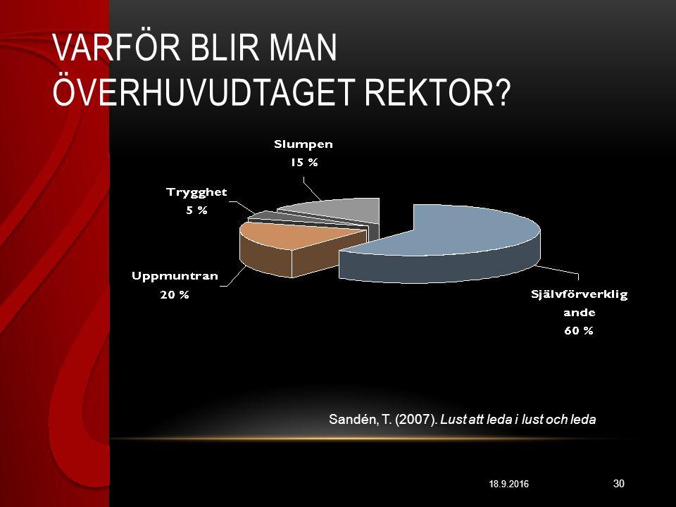 VARFÖR BLIR MAN ÖVERHUVUDTAGET REKTOR.18.9.2016 30 Sandén, T.