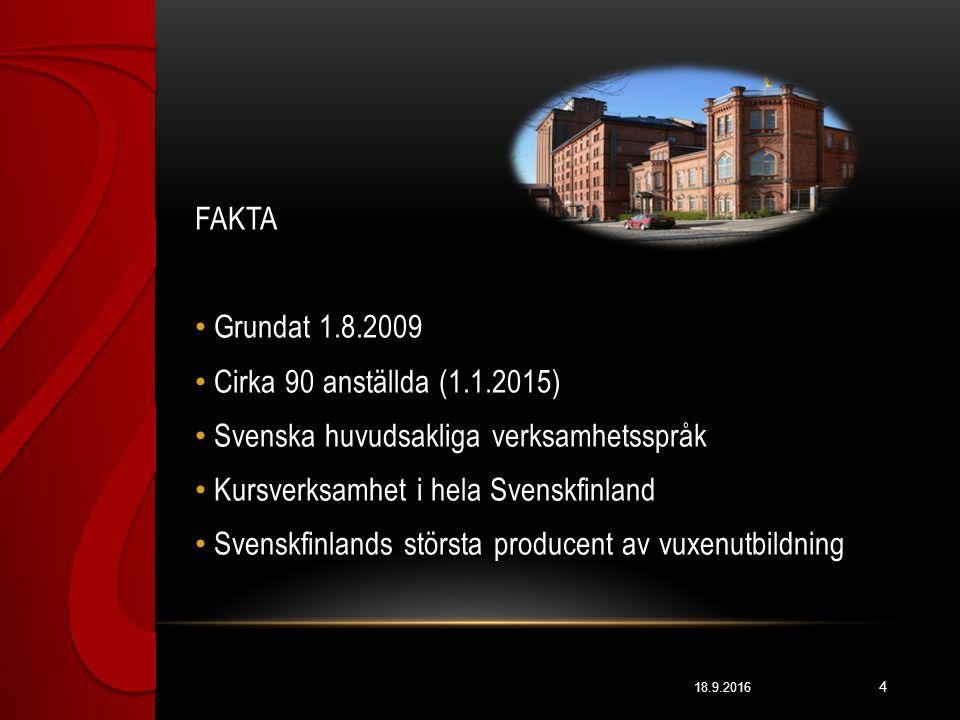 18.9.2016 4 FAKTA Grundat 1.8.2009 Cirka 90 anställda (1.1.2015) Svenska huvudsakliga verksamhetsspråk Kursverksamhet i hela Svenskfinland Svenskfinlands största producent av vuxenutbildning